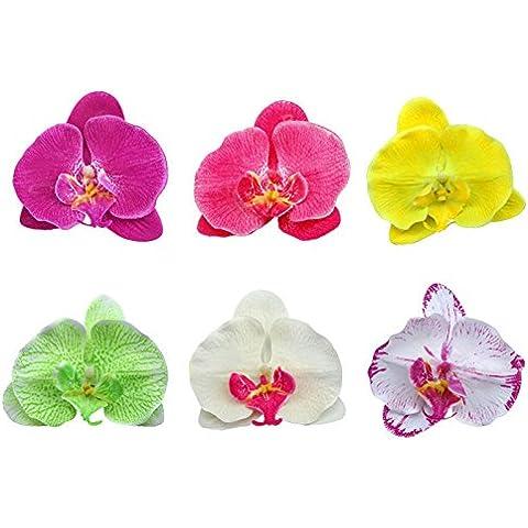 Boolavard® TM dell'orchidea dei capelli clip del fiore nuziale Hawaii Party Girl (Coccodrillo Dell'arco)
