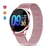 Smartwatch Elegante per Donna Ragazza Smartwatch Impermeabile Donna IP67 con Cardiofrequenzimetro da Polso Monitoraggio Sonno Fitness Tracker Contapassi Call SMS Notifiche Smartwatch
