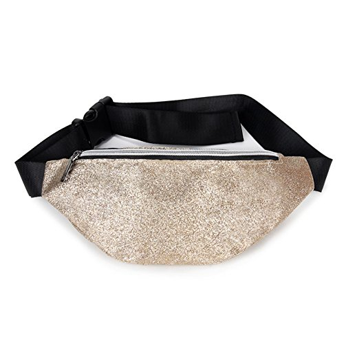 Ohyoulive Women Lady Girl Waist Bag Sequin Small Mini Zipper Portable Pouch for Mobile Phone Money -