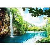 Fototapete Wald - ALLE WALDMOTIVE auf einen Blick ! Vlies PREMIUM PLUS - 350x245 cm - WATERFALL IN PARADISE - Wasserfall Lagune, Paradies Berge See Wald Bäume Landschaft - no. 035