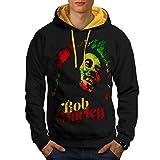 Marley Bob Cannabis Rasta Reggae héros Men L Sweat à capuche contrasté | Wellcoda