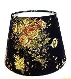 Black shabby chic style fabric lampshade