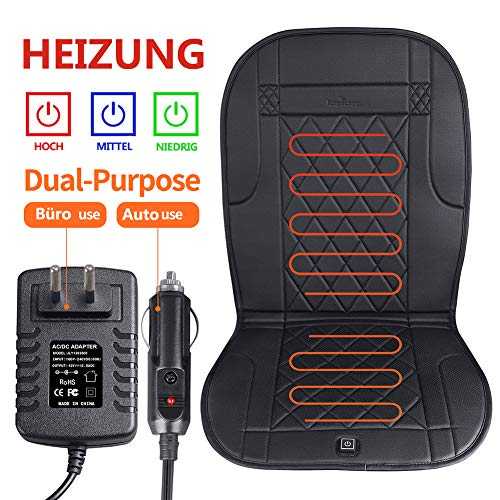 KINGLETING Beheizte Sitzkissen mit Druckempfindlichem Schalter, für Auto, Büro, Home(12Volt, Schwarz)