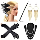Beelittle 1920s Accessories Set Flapper Headband,Necklace,Gloves,Cigarette Holder Great Gatsby Accessories for Women