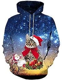 Domybest Unisex 3D Christmas Cat Print Herren Hoodies Teenager Casual  Pullover Tops 582ef7e937