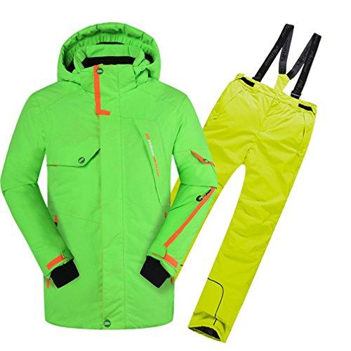 emansmoer Kinder Jungen Skianzug Wasserdicht Outdoor Wintersport Snowboardingjacke Baumwolle gepolstert Mantel mit Schneehose Salopettes (122/128, Grün(81606) + Gelb)