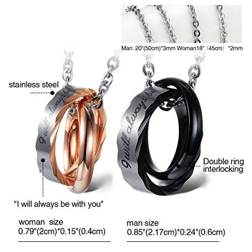 Cupimatch Valentinstagsgeschenk 2PCS Pärchen Kette Herren Damen Edelstahl verflochtene Ringe Anhänger Paar Halskette mit Gravur, Weihnachten 45 cm, 50cm Kette