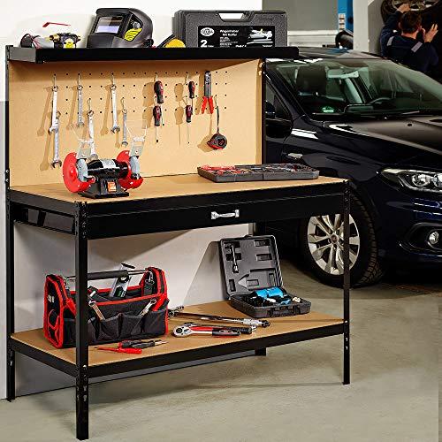 Werkbank Deuba® ✔ XXL 150x120x60cm ✔ Lochwand ✔ Profi Ausführung – Werkstatttisch Packtisch Werktisch - 2
