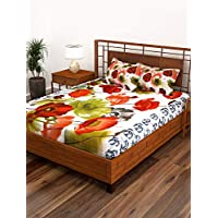 Story at Home 186 TC Single Bedsheet with 1 Pillow Cover, White/Green, 235 x 270 cm, FE1508