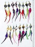Lot 8 pares pendientes de cuero caen plumas de colores peruanos arte y las joyas hechas a mano