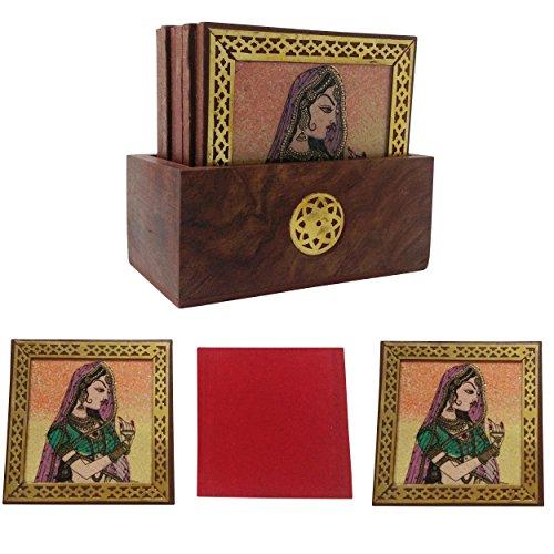 ein Malerei Tee Untersetzer Set (Set von 6) 4.5x2.5x4 Rural Lady - Ornaments ()