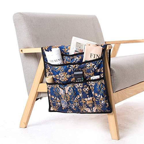 QEES - Organizador de reposabrazos para sofá con 7 Bolsillos para teléfono, iPad, Libro, bolígrafo, Cristal, Mando a Distancia, Juguetes, Organizador de Almacenamiento de Fieltro para mesita de Noche