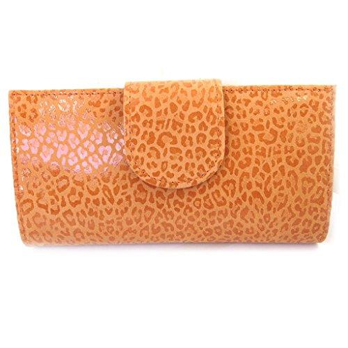 Leder-scheckheft inhaber 'Frandi'orange (leopard). -