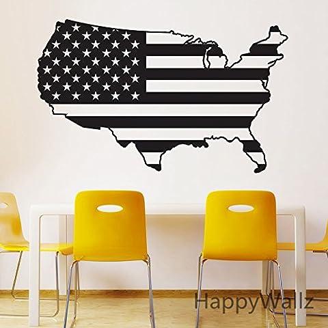 LLHZUO-USA Mapa Mapa de América adhesivo de pared Tatuajes de pared 3D Wallpaper Mapa americana moderna decoración decoración moderna M38