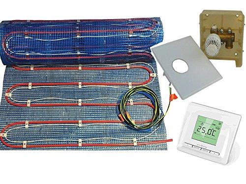 Fußbodenheizung 2systems als kombinierte Warmwasser- und Elektroheizung 2,5-10m², inkl. RTL Multibox und komfortabel programmierbarer Digital Regler, Fläche:2.5 qm