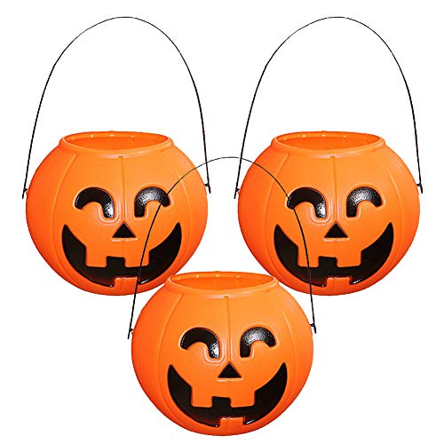 CSDM.AI Kürbis Lampion Candy Holder Mini Süßes Oder Saures Halloween Candy Bucket: Orange (3 Packungen),A