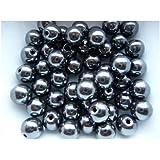 Lot 50 Perles Shamballa Hématite 8 mm