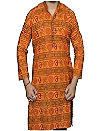 Chircrafts pure cotton Om Printed Long Kurta with Full Sleeves for Men or Women