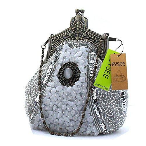Damen Clutch Samen-Perlen Abendtasche Hochzeit Bead-hand-knit Abschlussball Party-Abend Handtasche silber