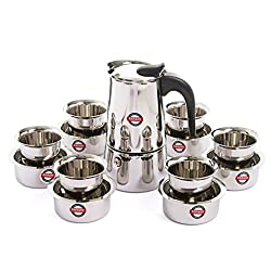 Embassy Coffee Percolator (6 Cups) with Tumbler & Dabara (Set of 6, 150 ml/glass), Stainless Steel