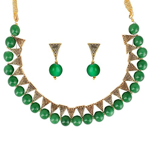 QURVED Green Colour Beads Fashionable Necklace Set with Tops Earrings for Indian...