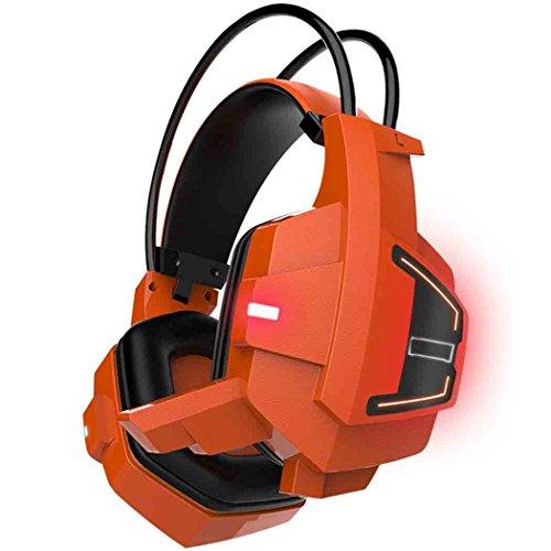 Junadeal Y036 Gaming-Headset mit Mikrofon Stereo Surround Gaming Kopfhörer über Ohr-Noise Cancelling und LED-Computer-Kopfhörer für MP3, MP4, PC-Computer, Mac, Mobil