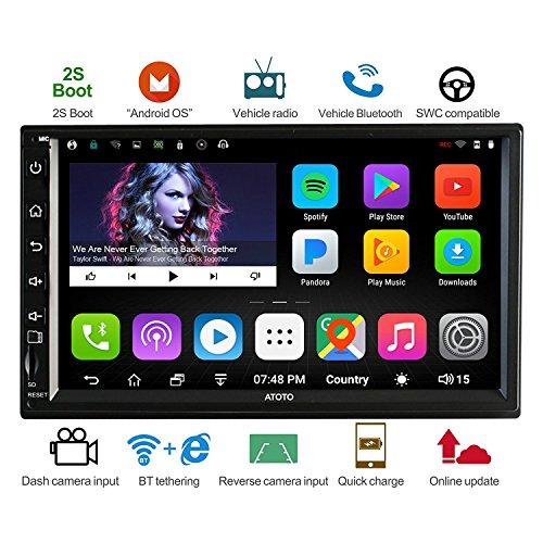 ATOTO A6 2DIN Autoradio Stereo - Navigatore - Android - Dual Bluetooth con USB 2A -A62721PB 2G+32G Car Entertainment Multimedia Radio,WiFi /BT Tethering internet -Supporta SD da 256GB &altro