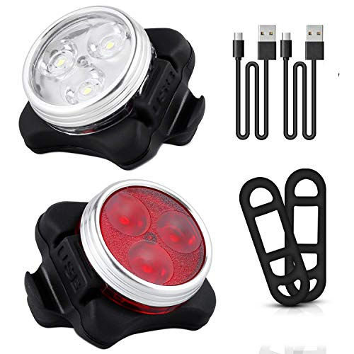 Chizea USB Wiederaufladbare LED Lampe, IPX65 Wasserdicht LED-Licht, 600mAh LED Frontlicht & 500mAh Rücklicht mit 4 Licht-Modus