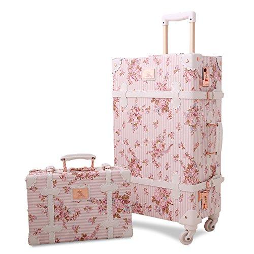 UNITRAVEL Koffer-Set Vintage Floral 2-teilig Rosa