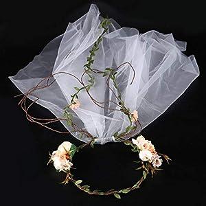 FengJingYuan-ZHUBAO Braut Kinderkranz Kopfbedeckung Fabric Schleier Stirnband Hochzeits-Accessoires