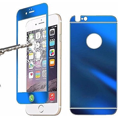 Blufox* Azul Protector delantero y trasero para iPhone 6 y 6S (vidrio cristal templado, 4,7