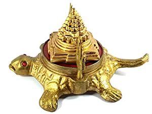 Discount4product Feng Shui Metal Turtle With Laxmi Yantra And Trishul For Good Wealth