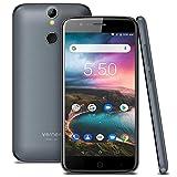 Vernee Thor Móviles Libres, Android 7.0, Pantalla HD de 5 Pulgadas, 2800mAh, 3GB RAM+16GB ROM, Desbloqueo de Huellas, Cámara Dual 13MP+5MP, SIM Dual, Smartphone 4G Ligero y Fino (Gris)