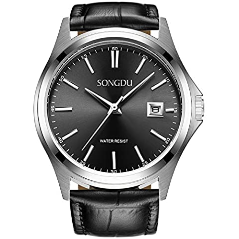 SONGDU Men's Elegant Quartz Watch with Date Analogue Display