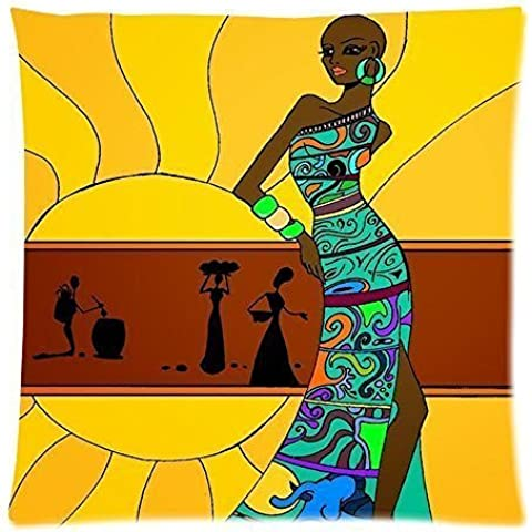 Custodia Cuscino con zip, donna africana 50,8x