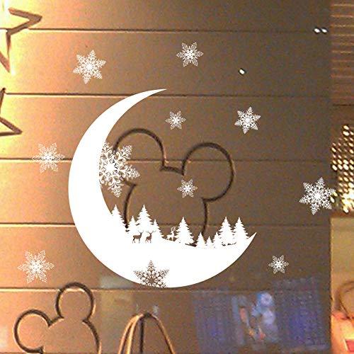 Setsail Mond Weihnachten Fensterbilder Weihnachtssticker,Schneeflocken Fenstersticker Fensterdeko Wanddeko Weihnachtsdeko Wandaufkleber Wandtattoo Wandsticker Weihnachten Rentier Aufkleber