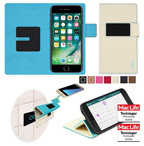 Étui pour Apple iPhone 8 de couleur Cuir Noir - Boîtier innovateur 4 en 1 Coque Smart Cover Case - Support mural anti-gravité, porte-smartphone de voiture, support de table - Boîtier de protection mur Beige