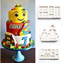 Molde de silicona con forma de bloques de construcción de LEGO de color blanco para decoración de pasteles, fondant y cupcakes