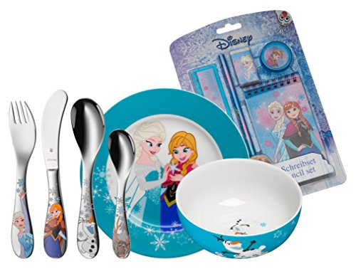 WMF Disney Frozen Kindergeschirr, mit Kinderbesteck, 6-teilig, inkl. Schreibset, ab 3 Jahren, Cromargan Edelstahl poliert, spülmaschinengeeignet, farb- und lebensmittelecht - Essen, Schüssel-set , Kleinkind,