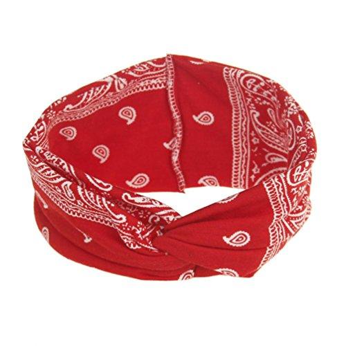 Trada Stirnbänder, Frauen Yoga Sport Elastic Floral Haarband Stirnband Turban verdreht verknotet Blume Gedruckt Baumwolle Gestrickte Verdrehte Weiche Turban Kopf Verpackungs (Rot)