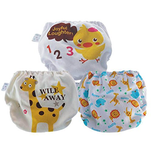 ARAUS Culotte d'apprentissage pour Bébé Fille Garçon Couches-Culottes Motif Animaux Lavable Etanche Lot de 3 1-5 Ans (2-3 ans)