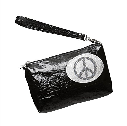 PANAME-PARIS - Trousse de maquillage lamée Peace & Love argent