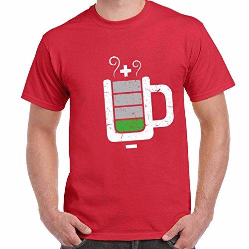 T-Shirt Divertente Uomo Maglietta Cotone Con Stampa Ironica Nerd Cup Battery Chemagliette! Rosso