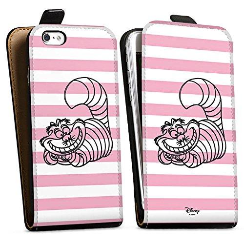 Apple iPhone SE Hülle Case Handyhülle Disney Alice im Wunderland Grinsekatze Fanartikel Merchandise Downflip Tasche schwarz