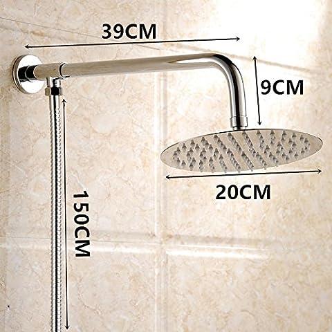 ODJG Los cuartos de baño son ultra delgado de acero inoxidable grifos ducha grande rociadores top boost metal baño ducha de lluvia , 4 kit de extensión de la Ronda 8