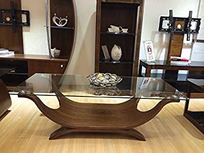 Boat Shaped Italian Design Coffee Table with Clear Safety Glass - low-cost UK light store.