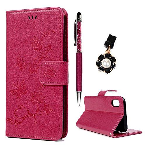 iPhone X Hülle Badalink Handyhülle Leder PU Case Cover Magnet Flip Case Schutzhülle Kartensteckplätzen und Ständer Handytasche mit Eingabestifte und Staubschutz Stecker, Lila Rosa rot