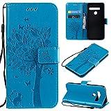 CMID LG G8 ThinQ Hülle, PU Leder Brieftasche Handytasche Flip Bookcase Schutzhülle Cover [Ständer][Handschlaufe] für LG G8 ThinQ (Blau)