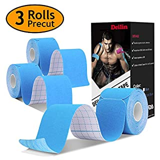 Deilin Kinesiology Tape Precut(3 Pack), Elastic Therapeutic Sports Tapes for Knee Shoulder and Elbow, Waterproof Athletic Physio Muscles Strips, Breathable, Waterproof, Latex Free, Free Taping Guide