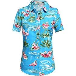 SSLR Camisa Hawaiana Mujer Blusa Flamencos Floral Casual para Verano (Medium, Azul)